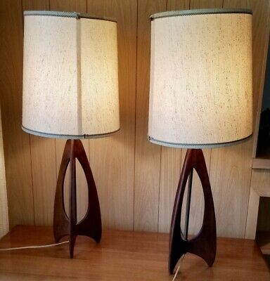 Vintage Pair Mid Century Modern Danish Table Lamps Wood Teak