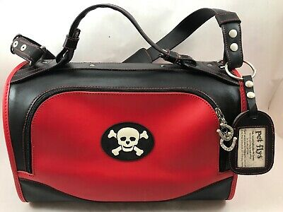 Pet Flys Airline-Approved Pet Carrier - Red with Skull  Clean!