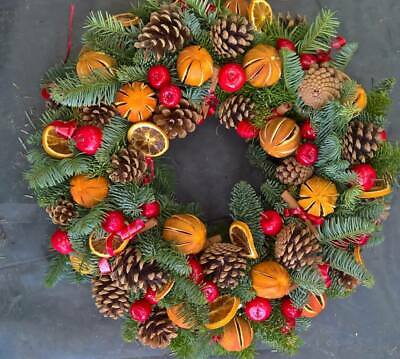Orange & Berry Fresh Front Door Ring Wreath Christmas Cemetary Tribute 12 inches