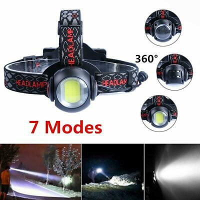 50000LM T6+COB 7 Modes Zoom Headlamp Rechargeable Headlight Camping Torch Lights