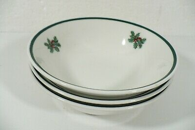 """3 Johnson Brothers Victorian Christmas Cereal Bowls 6"""" w/ holly/pine England"""