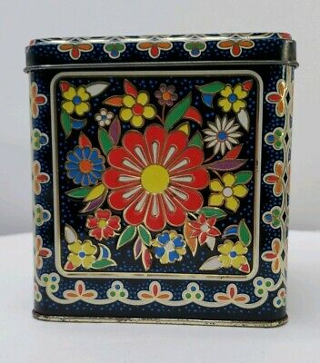 Vintage Daher Biscuit Tin Cookie Container Hinged Lid Floral Made in England