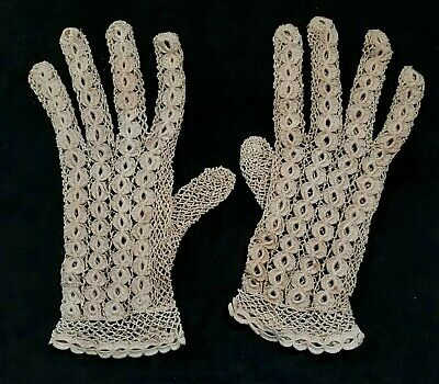 Antique Womens Crocheted Beige Lace Gloves No Holes Or Frays 8.5 Inch Long FINE