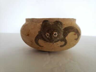 Authentic Pre Columbian Nazca Cat Effigy Bowl