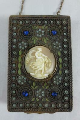 Antique FRENCH CHATELAINE MIRROR COMPACT Filigree Wire, Cameo, Jewels, Enamel