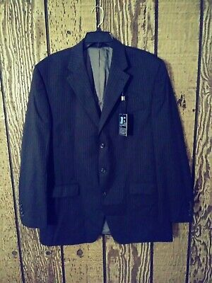 Chaps New With Tags 100% Wool Mens Suit Coat Blazer Jacket 44L Black Pinstripe