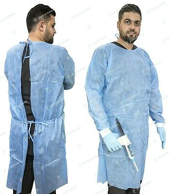 50 Blue SMS Knitt Cuff 30G Disposable Medical Dental Isolation Surgical Lab Gown