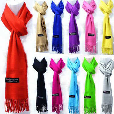 Mens Womens Winter Plain Solid Wool SCOTLAND Made 100% CASHMERE Scarf Scarves
