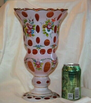 Czech Bohemian Glass Cranberry Cased to White  VERY LARGE VASE Vintage  LOT 4376