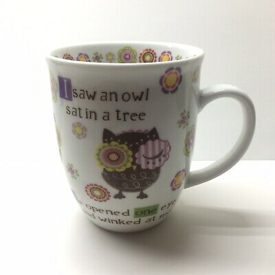 Colorful Floral Winking Owl Coffee Mug Cup with Text
