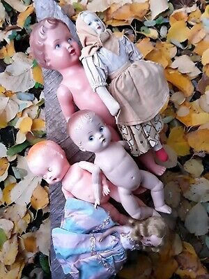 Vintage Antique Small 5 Doll Lot Instant Collection! Baby Dolls, Lady Dolls