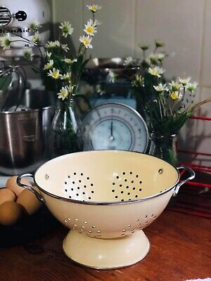 Vintage Cream Enamel Ware Colander Strainer Kitchen Cooking