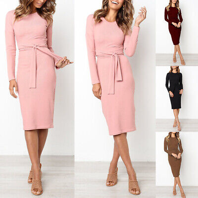 Women Sexy Long Sleeve Pencil Bandage Bodycon Party Evening Cocktail Midi Dress