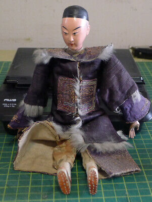 Antique Chinese Opera Doll: Late 19th/Early 20th Century-with Silk Costume