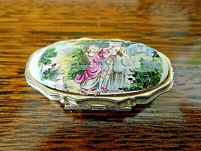 Vintage Enamel Pill Box Gold Metal 1960s Japan, Courting Couple Stealing a Kiss