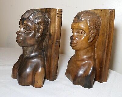 pair of antique hand carved African ebony wood heavy figural male lady bookends
