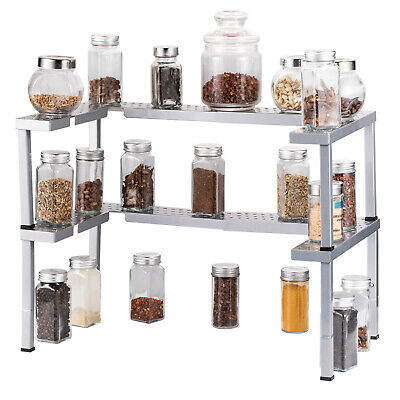 2 Sets Stackable Cabinet  Organizer Expandable Spice Rack for Kitchen-Silver