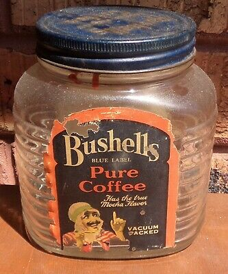 VINTAGE BUSHELLS BLUE LABEL PURE COFFEE 16oz JAR PAPER LABEL