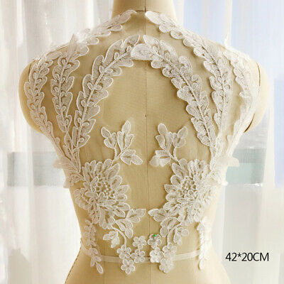 Applique Floral Embroidery Lace Trim Wedding Clothes Sewing Patch DIY Crafts