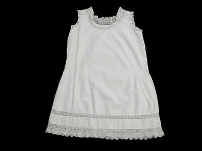 1920s Childs Vintage White Cotton Petticoat, Sun Dress, With Cluny Lace Trim - S