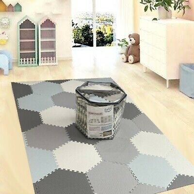 Grey White Hexagon Kids Play Mat Living Room Exercise Yoga Gym Puzzle Matting