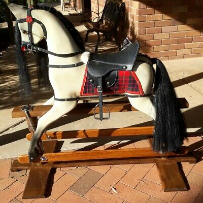 Handcrafted Wooden Vintage Style Brand New Rocking Horse Heirloom Mahogany