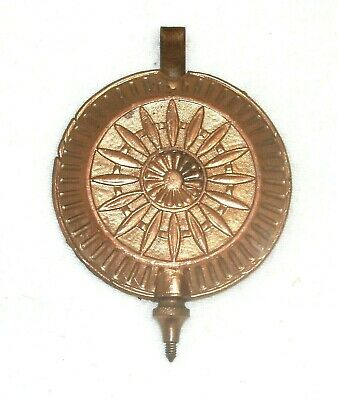 Ornate Brass Pendulum Disc For An Antique Chiming Clock  2 1/2 Inches Diameter