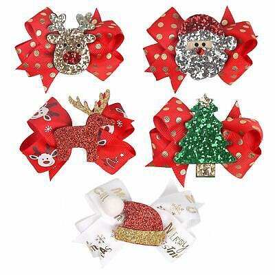 5x Christmas Sequins Clips Baby Girls Hair Clips Bows Barrettes Hair Accessories