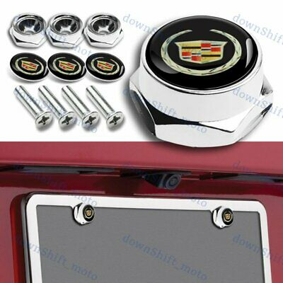 4PCS metal car license plate frame screw bolt cap cover nuts Chrome For Cadillac