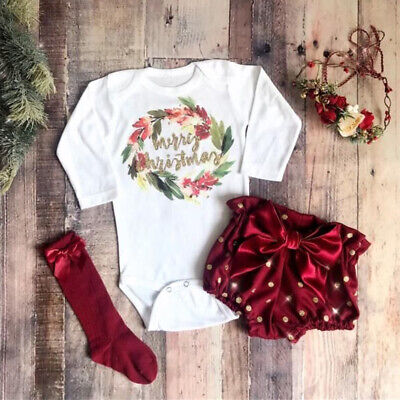 Sweet Newborn Baby Girl Christmas 3PCS Outfit Clothes Top Romper Shorts Headband