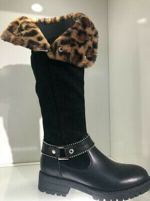 Ladies Womens Black Faux Leather Knee High Mid Heel Winter Fur Boots Size 3