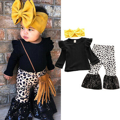 US Toddler Baby Girl Cotton Tops T-shirt Flared Pants Bell Bottom Autumn Outfits