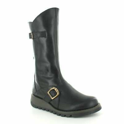 Fly London Mes 2 Womens Leather Mid-Calf Wedge Boots Black