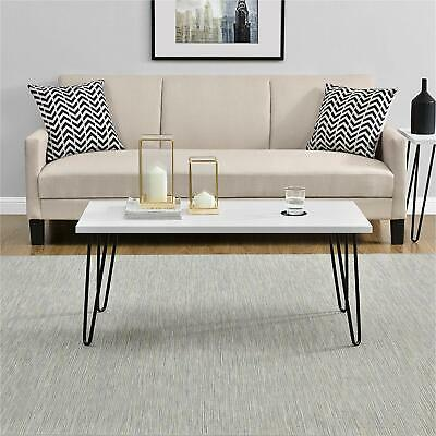 Ameriwood Home Owen White Retro Coffee Table With Black Hair Pin Legs