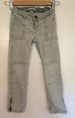 Bonpoint Girl Trousers Age 8 Casual Cargo Skinny Beige 7-8 Taupe Zip Designer