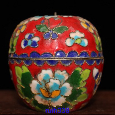 Old China antique bronze Filigree Cloisonne Apple shaped box