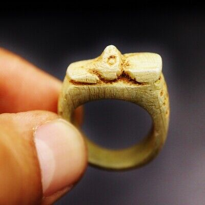 Rare Antique Stone Ring with Falcon GOD Horus Amulet of Ancient Egyptian