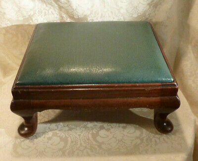 Vintage Queen Anne Mahogany Footstool Green Leatherette Upholstery (2 Available)