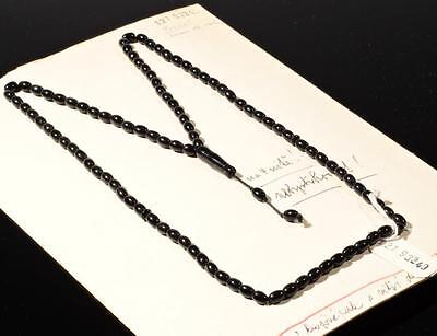 Vintage Czech 99 oval rondelle tube black glass Islamic prayer bead strand