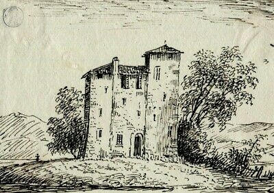 19th Vintage Drawing - Old Masters, Dessin Ancien - Castle - Dikeos Collection