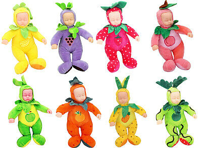 10Inch Plush Soft Bodied Sleeping New Born Baby Doll With Fruit Outfit Baby Doll