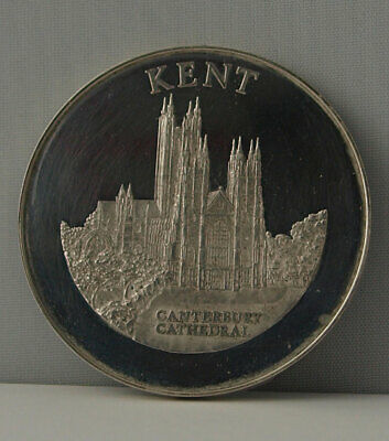 Kent - Large Solid Silver Medal - 41g - Canterbury Cathedral