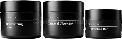 Lumin Moisturizing Balm Exfoliating Rub Charcoal Cleanser mens skin combo deal