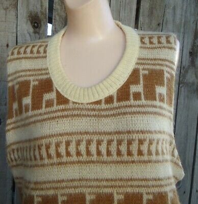 NOS Vtg Mid Century Acrylic Beige Brown Sleeveless Puritan Sweater Vest L