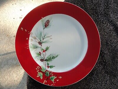 Lenox Holiday Winter Song Pine Cone Branch Red Rim White Dinner Plate