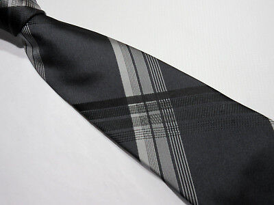 Taylor & Wright Padded Grey Black Criss Cross 3.5 Inch Polyester Neck Tie