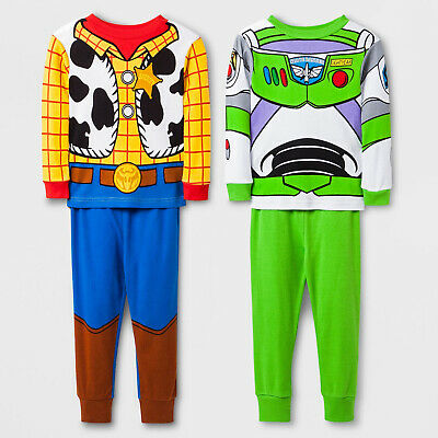 4 Piece (2 SETS) TOY STORY Toddler Boys Pajamas 2 Pc Cotton Pants Top Buzz Woody