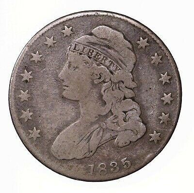 Raw 1835 Capped Bust 50C Uncertified Ungraded US Silver Half Dollar Coin