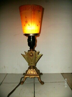 1930's EGYPTIAN REVIVAL LAMP art deco ANTIQUE GOLD & GREEN ORIGINAL GLASS SHADE