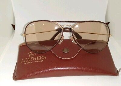 Vintage Ray-Ban Brown Leather Changeables Aviator BL Sunglasses